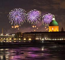 14 juillet, feu d'artifice Toulouse